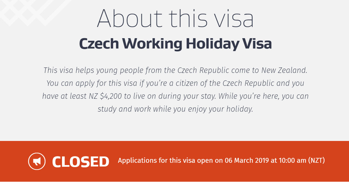 Otevření kvóty Working holiday Nový Zéland