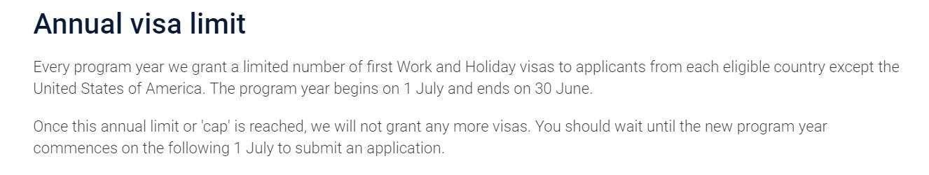 Work and Holiday v Austrálii - kvóta