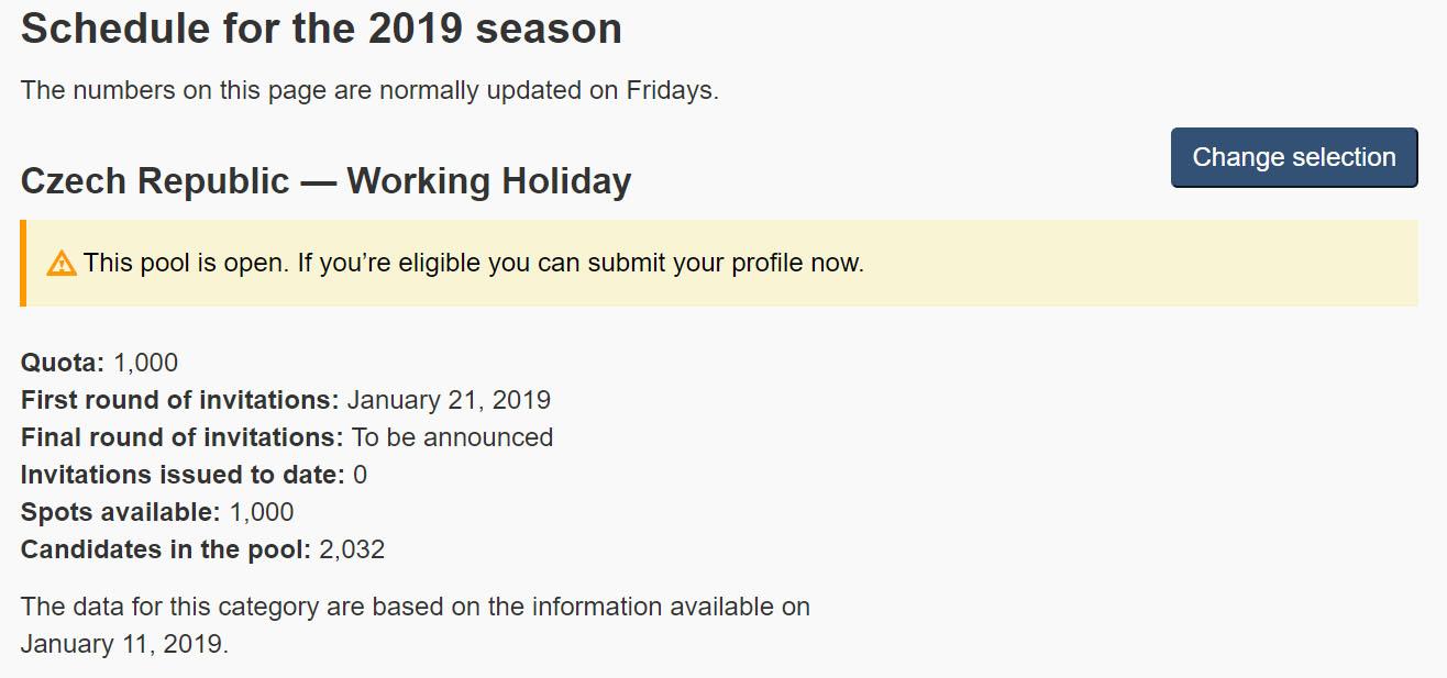 Otevření kvóty pro Working holiday do Kanady 2019